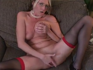 Blonde Glasses Masturbating  Stockings