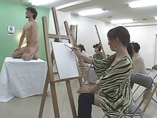 Art class model shows his a big pencil - Misc. Japanese 3