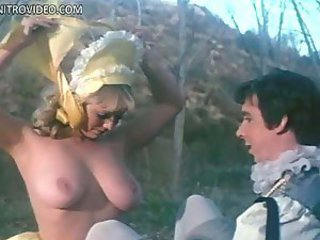 Foxy Retro Blonde Angela Aames Exposing Her Big Natural Tits Outdoors