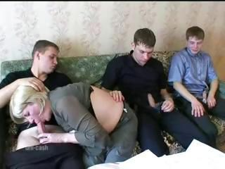 Big tit mamma fucks 3 boys on couch.