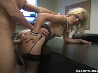 Horny secretary Jamie Lamore likes getting fucked hard from her sexy back