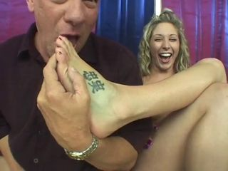 Poledancer Blonde Malia Kelly Gives Footjob And Is Fucked