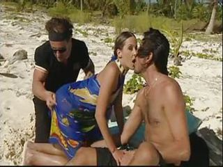Beach Double Penetration  Outdoor Threesome