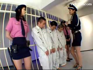 3 Jailer Girls In Uniform Raping 3guys Rubbing Jerking Cocks In The Jail
