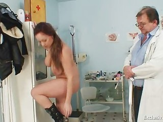 Andrea visiting her gyno doctor for real pussy