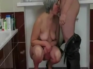 Bathroom Blowjob Mature Mom Old and Young Russian