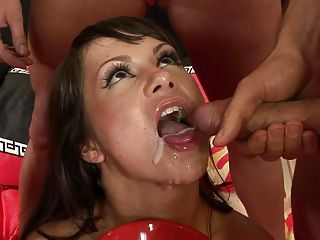 Babe Angelina Crow swallows two big meats and cumshots