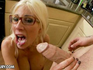 Puma Swede in kitchen sucking cock