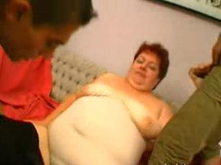 Big Grandma Challanges Two Young Guys To Play With H...