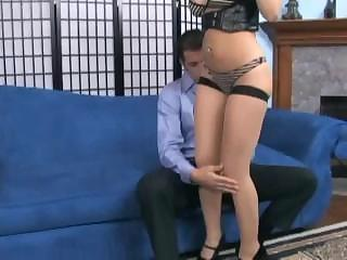 Kagney In Sheer Seamed Stockings Giving Footsex And...