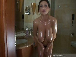 Amazing Bathroom Big Tits Cute MILF Natural Oiled SaggyTits