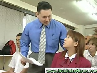 Real japanese school girl gets...