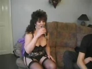 British European MILF Drunk Lingerie Stockings