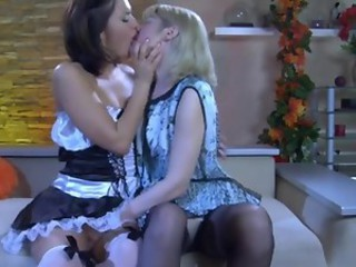 Adorable maid leads her mature mistress inside the world...