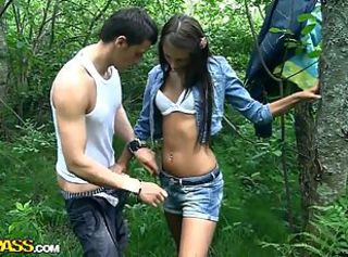 Brunette Jeans Outdoor Teen