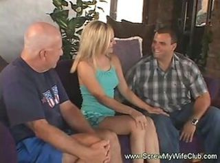 Hubby watched a pornstar screwed his hot blonde wife