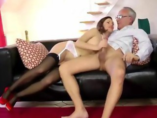 Amazing Handjob Old and Young Stockings Teacher Teen