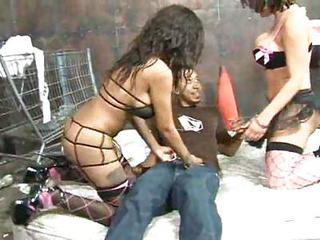 Two Hot Big Titted Ladies Pamper Black Cock