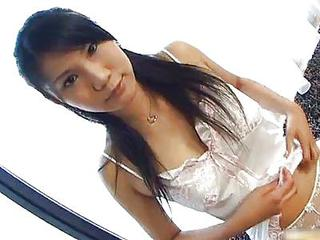 Hot Asian Babe Enjoys Jizz
