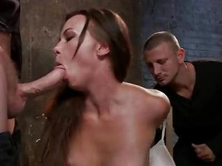 Handcuffed Alysa Gets Black And White Ro...