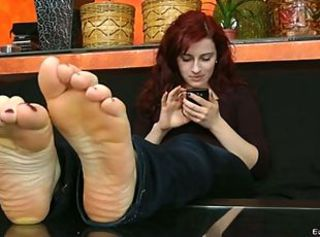 Lady Wings Soles Rub _: foot fetish redheads