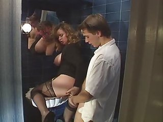 Bathroom Chubby Clothed  Old and Young Stockings