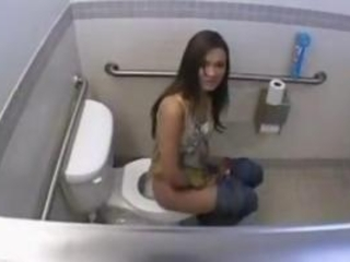 Brunette Finds A Dick And Fucked Inside The Toilet