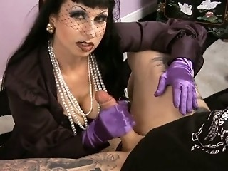 smoking CFNM fetish MILF in stockings jerking off