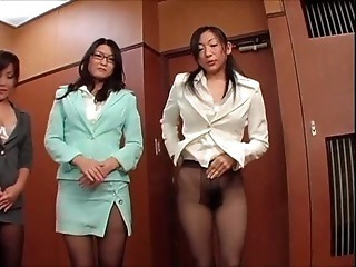 Asian Glasses Japanese  Office Pantyhose