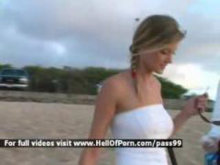 Stunning blonde on the beach Sex Tubes