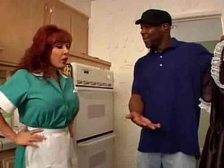 Interracial Kitchen Maid  Redhead Uniform
