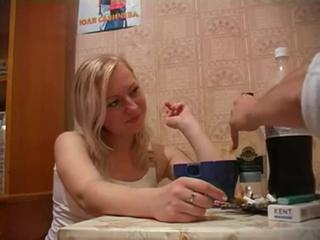 Drunk blonde teen gets face f...