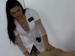 Brunette Fishnet  Nurse Uniform