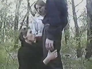 Blowjob Clothed Outdoor Threesome Vintage