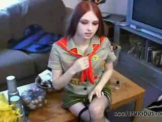 Redhead Stockings Teen Uniform