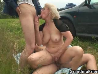 Old slut swallows two cocks in fields Sex Tubes