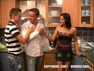 Brunette Drunk Kitchen Teen Threesome
