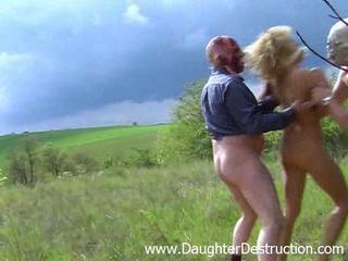 Blonde Forced Outdoor Teen