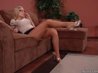 Blonde Glasses Legs  Pantyhose