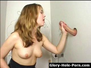 Naughty sweeping sucks & jerks cock thumb gloryhole Sex Tubes