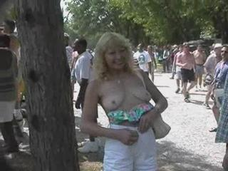 Mature Outdoor Public  Stripper