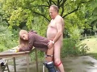 Clothed Daddy Daughter Doggystyle Old and Young Outdoor Teen