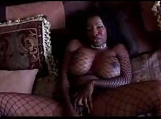 Big Tits Ebony Fishnet Masturbating