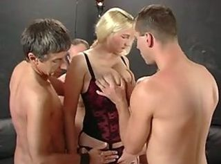 Hard group fuck with milf