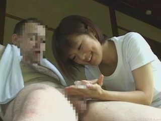 Asian  Handjob Outdoor