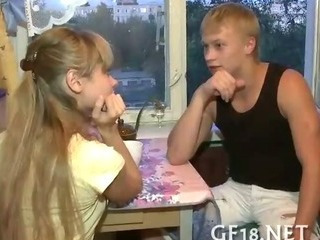 Blonde Girlfriend Kitchen Russian Teen
