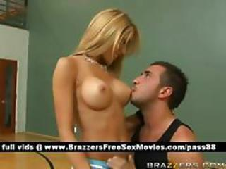 Hot Blonde Girl On The Basketball Court Gets Her Tits Licked