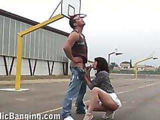 Hot Public Sex Basketball Court Threesome Very Cool