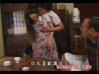 Asian Kitchen Mom Threesome