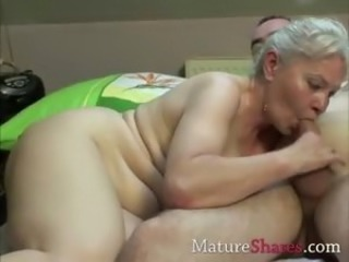Blonde old woman does younger brat